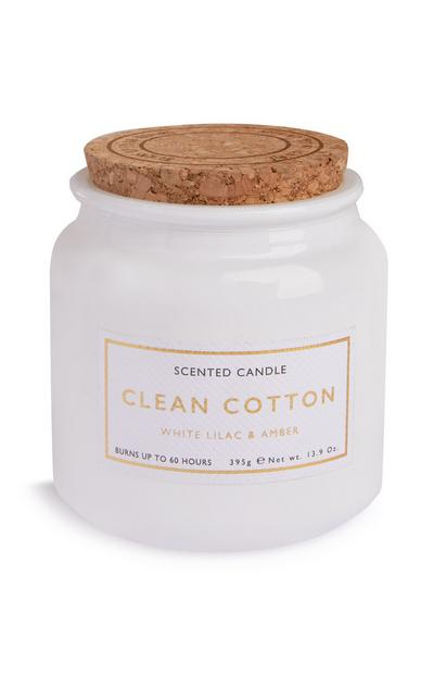 Kaars Clean Cotton in potje met kurken deksel