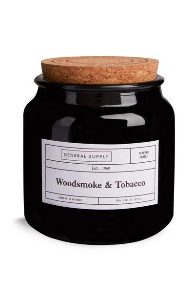 Large Woodsmoke and Tobacco Candle With Cork Lid