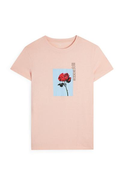 Blush Rose Print T-Shirt