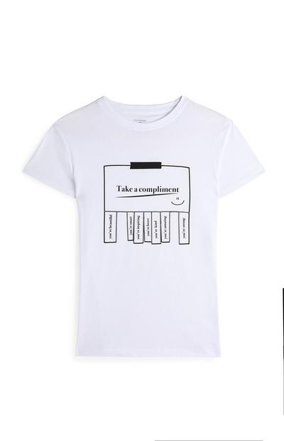 Wit T-shirt met korte mouwen en 'Take a compliment'