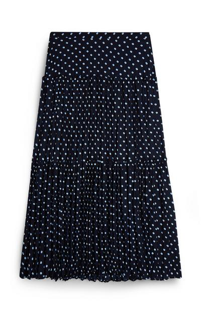 Black And White Dotted Midi Skirt