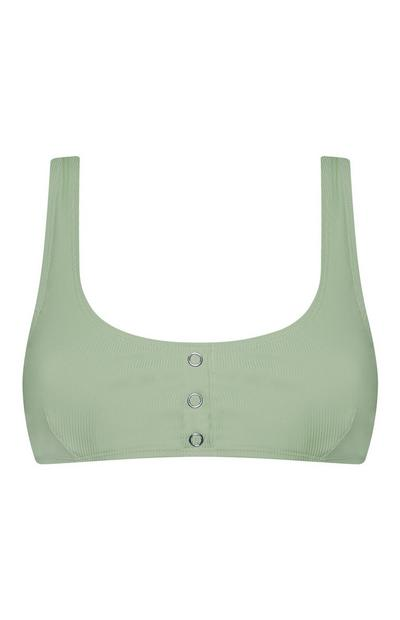 Olive Green Popper Crop Top