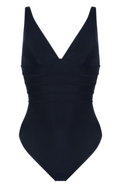 Black Paneled Shaping Swimsuit