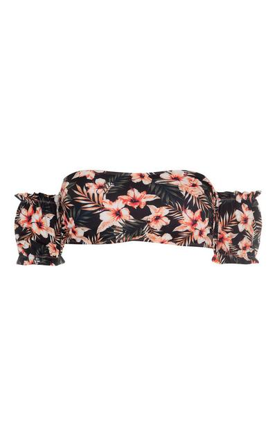 Black Floral Puff Sleeve Bandeau Top