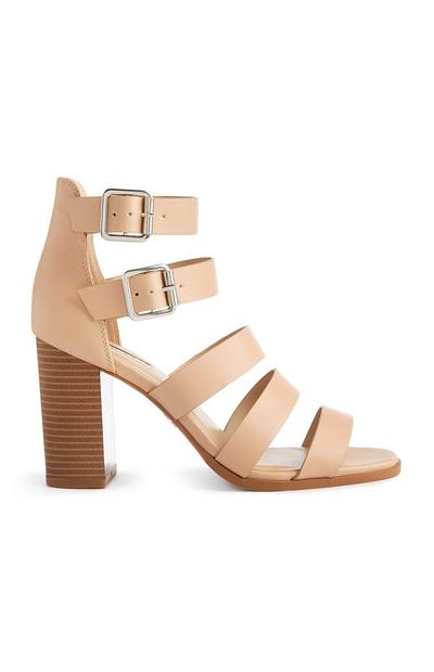 Nude Multi Strap Heeled Sandals