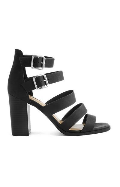 Black Multi Strap Heeled Sandal