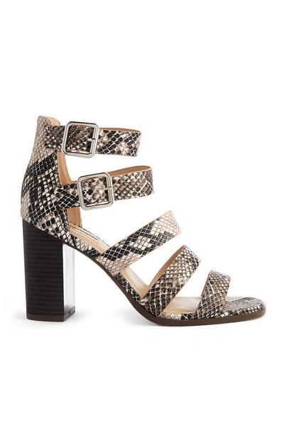 Croc Print Multi Strap Heeled Sandal
