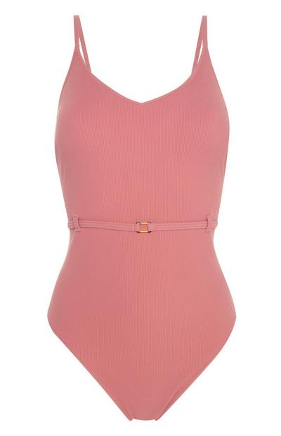 Pink Belted Swimsuit