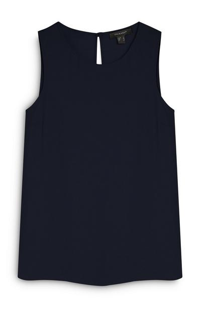 Navy Sleeveless Blouse