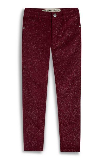 Jeans skinny rossi glitterati da bambina
