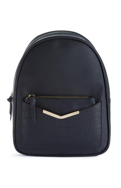 Black Croc Print Backpack With Removable Pouch