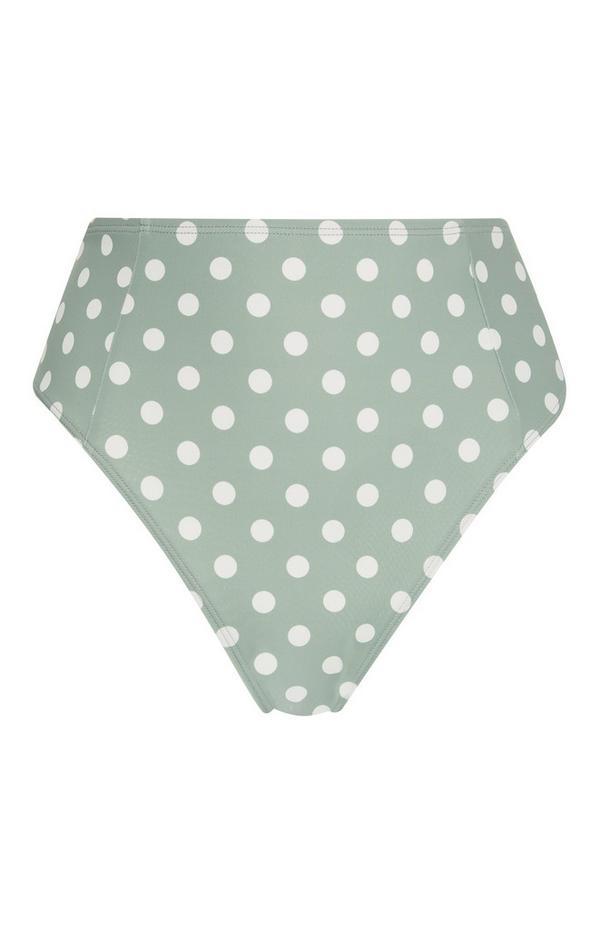 Grüne High-Waist-Bikinihose mit Punkten