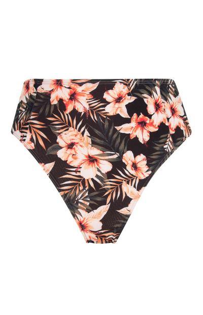 Black Floral High Waist Bikini Briefs