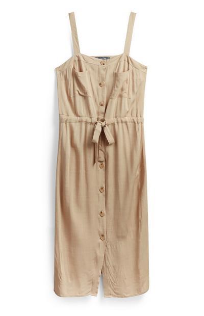 Halflange beige utility-jurk met knopen en bandjes