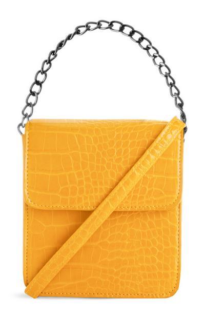 Vierkante gele schoudertas met ketting en krokodillenprint