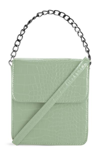 Mint Green Croc Square Chain Bag