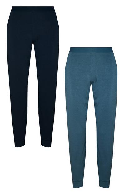 2 leggings neri e blu in cotone Pima