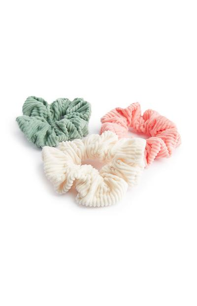 Green Peach And Ivory Cord Scrunchies 3Pk