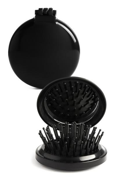 Black Compact Mirror And Brush
