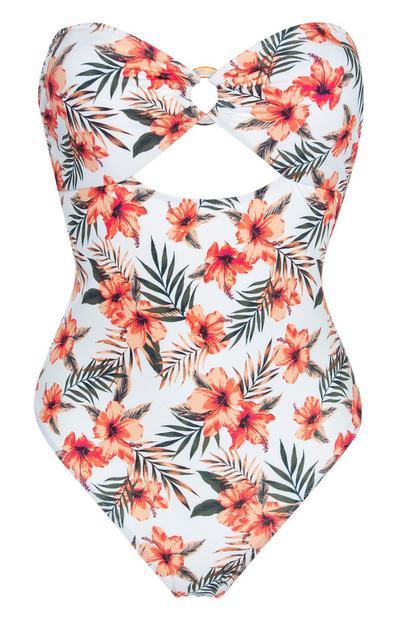 Trägerloser, weißer Badeanzug mit Cut-Outs und orangefarbenen Blumen