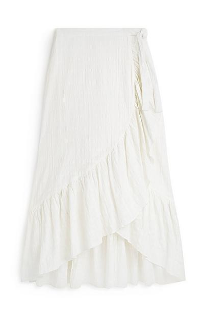 Ivory Layered Frill Wrap Midi Skirt