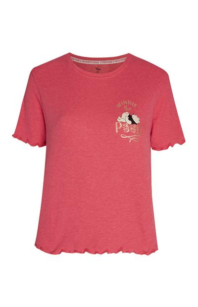 Pink Winnie The Pooh Ribbed T-Shirt
