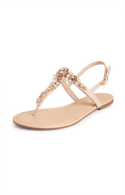 Rhinestone Thong Sandals