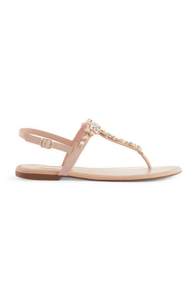 Pink Diamante T-Bar Sandals