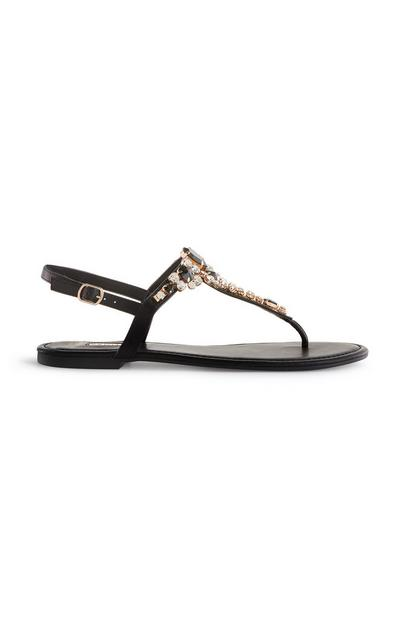 Black Rhinestone T-Bar Sandals