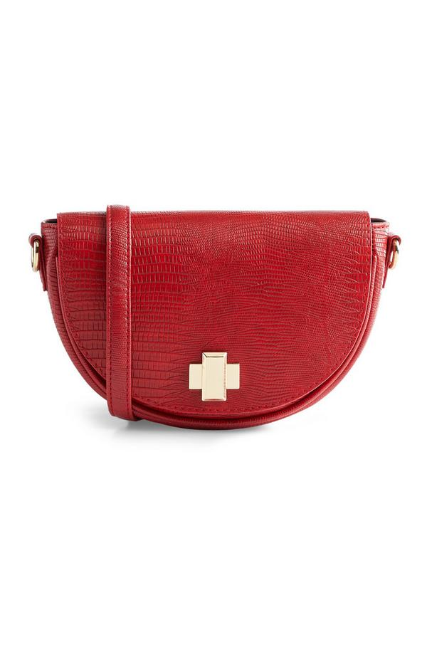 Rote Tasche mit Krokoprint, 3 Tragevarianten