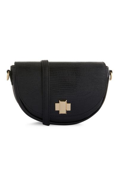 Black Crescent Handbag With Strap