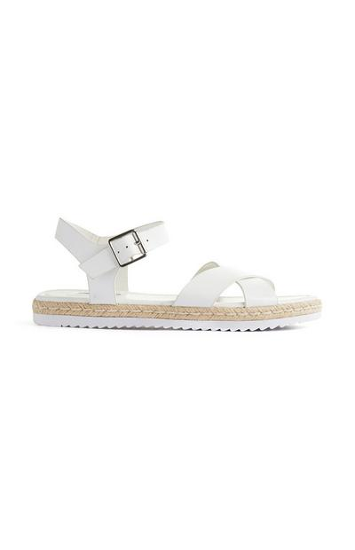 White Ankle Buckle Espadrilles