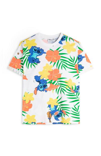 White Floral Lilo And Stitch T-Shirt