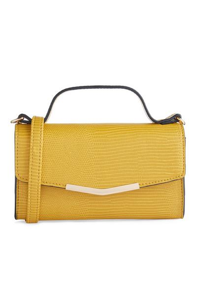 Mustard Mixed Print Top Handle Crossbody Bag