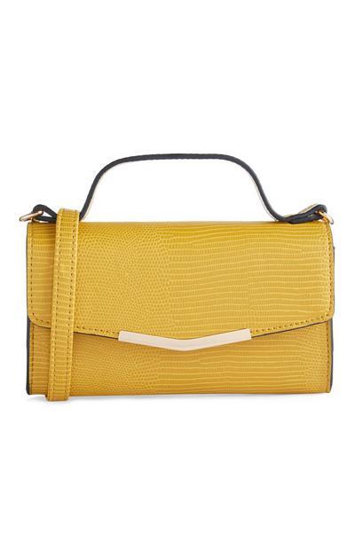 Mustard Mixed Print Top Handle Crossbody Bag