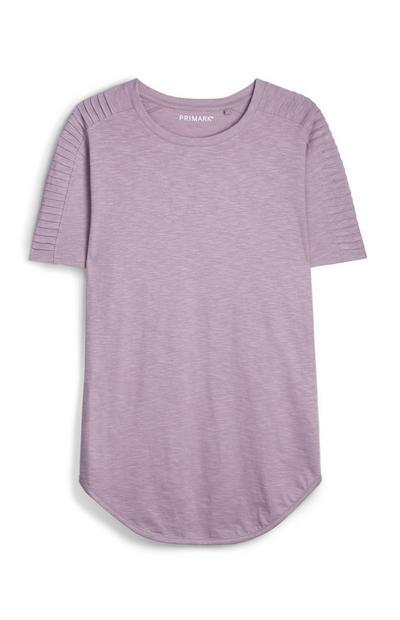 Fliederfarbenes, strukturiertes T-Shirt im Biker-Look