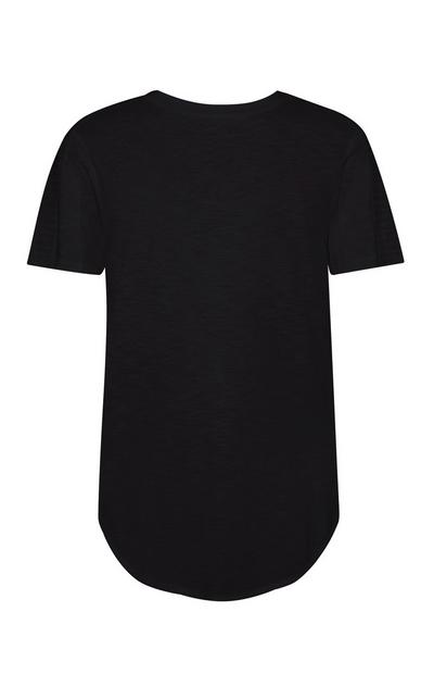 Black Short Sleeve Longline T-Shirt