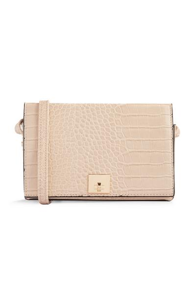 Cream Croc Print Crossbody Bag
