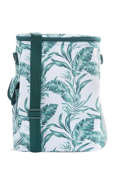 White And Green Leaf Print Cooler Bag