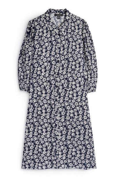 Donkerblauwe jurk met lange mouwen en bloemenprint