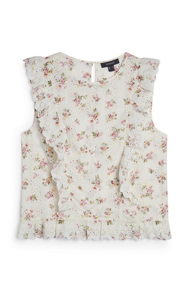 Bela vezena bluza brez rokavov s cvetličnim potiskom
