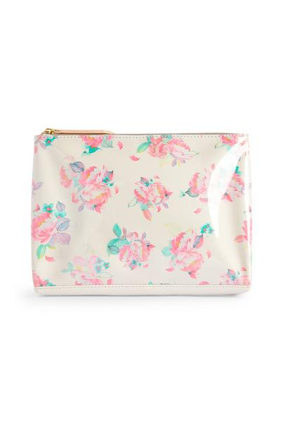 Large White Floral Make-Up Bag