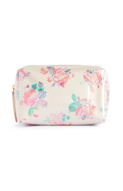 Weiße Make-up-Tasche mit Blumenmuster