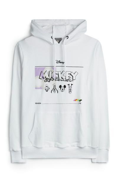 Bela majica Mickey Mouse s kapuco in žepi spredaj