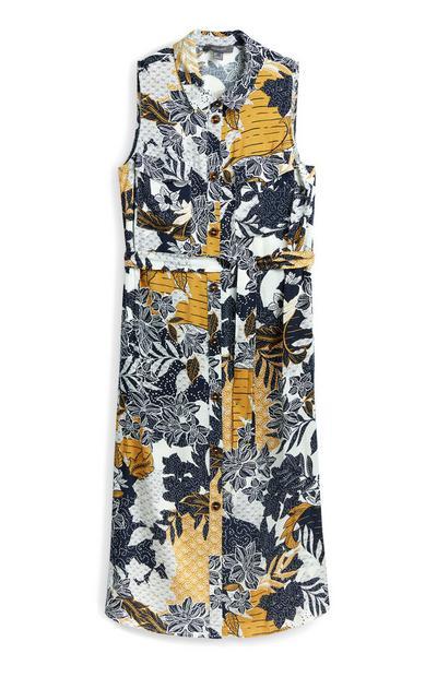 Sleevless Printed Midi Shirt Dress