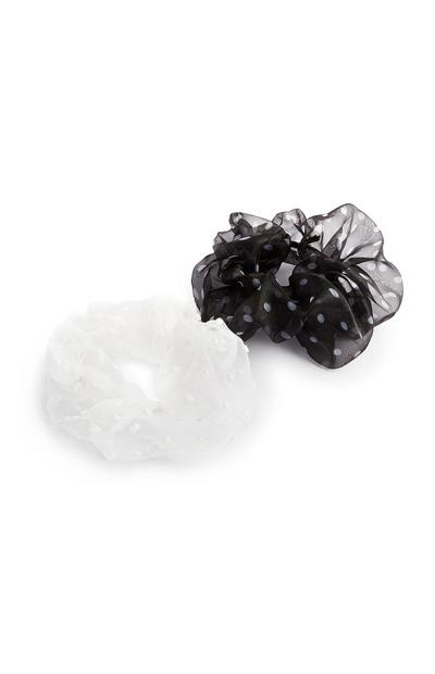 White And Black Organza Scrunchie 2Pk