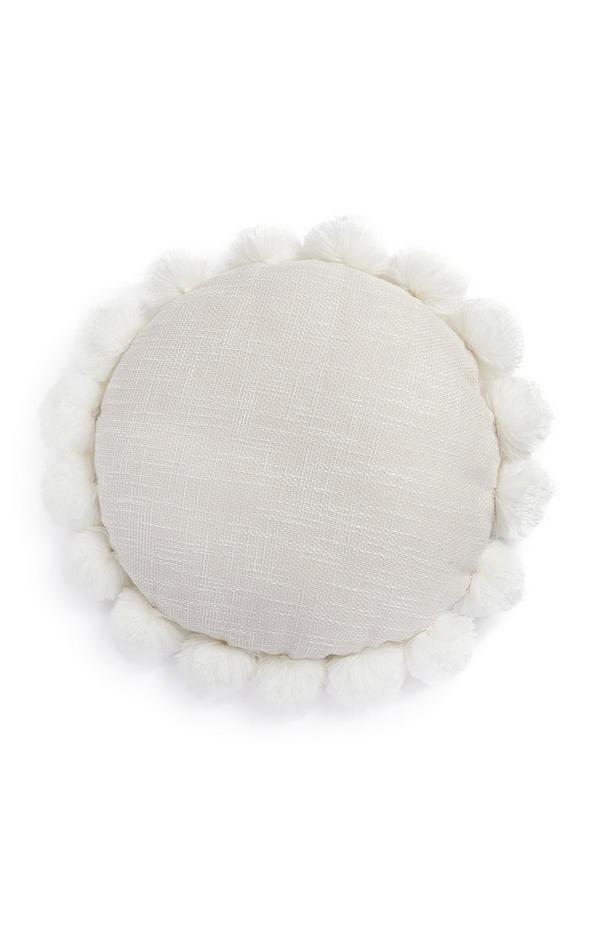 Elfenbeinfarbenes Kissen mit runden Pompons