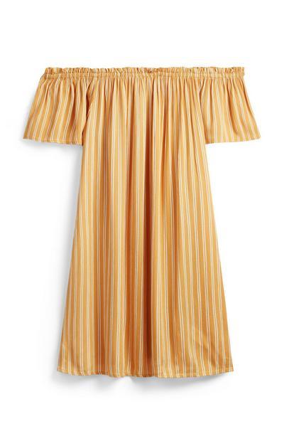 Rumena črtasta mini obleka z odprtimi rameni