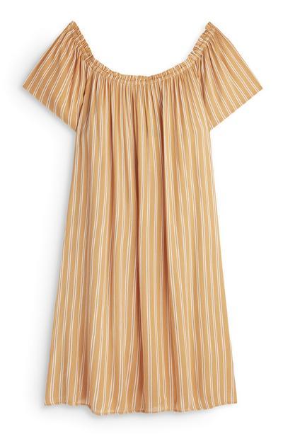Gelb gestreiftes Bardot-Kleid