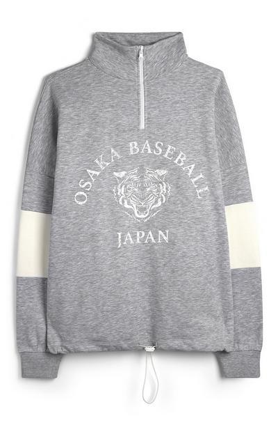 Jersey de estilo universitario gris «Osaka Baseball Japan»